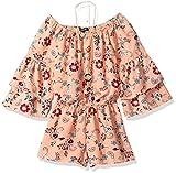 My Michelle Big Girls' Floral Ruffle Sleeve Romper, Peach, M