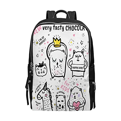 90d4773b1f InterestPrint Funny Motivational Quotes with Cute Cartoon Animal Giraffe  Unicorn and Kitten Unisex School Bag Casual