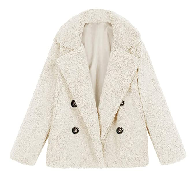Amazon.com: Sunward Womens Casual Faux Fur Oversized Coat Lapel Shearling Shaggy Open Front Jackets with Pockets (M, White): Pet Supplies