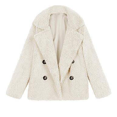8d7523b4215 Women Casual Jacket Double Breasted Parka Outwear Ladies Coat Overcoat  Fleece Faux Fur Jumpers Baggy Bomber