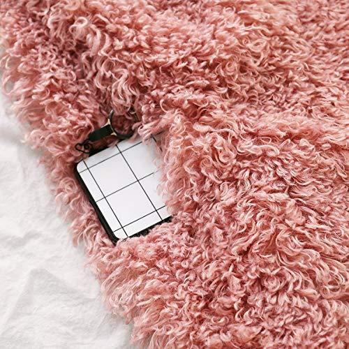 Manches M pais Outwear Fourrure Size Fausse Solide Femmes Lache Hiver Pink Manteau Longues Revers Color Uw5YYfx6