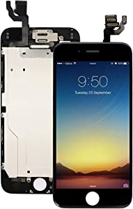 Pre-Assembled Screen Replacement for iPhone 6 Black, LCD Display and Touch Screen Digitizer Replacement for A1549, A1586, A1589 w/Facing Proximity Sensor, Ear Speaker, Front Camera and Repair Tools