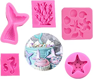 Seashell Silicone Fondant Mold Mermaid Tail Mold Seahorse Chocolate Mold Starfish Candy Mold Coral Shaped Mold for Sea Beach Theme Wedding Birthday Party Cake Decoration Cupcake Topper(Set of 5)