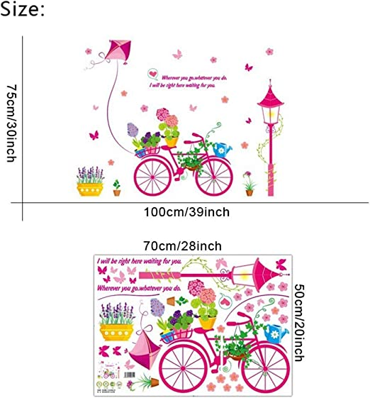 ZXL Etiqueta de la Pared de Dibujos Animados Bonsai Bicicleta ...