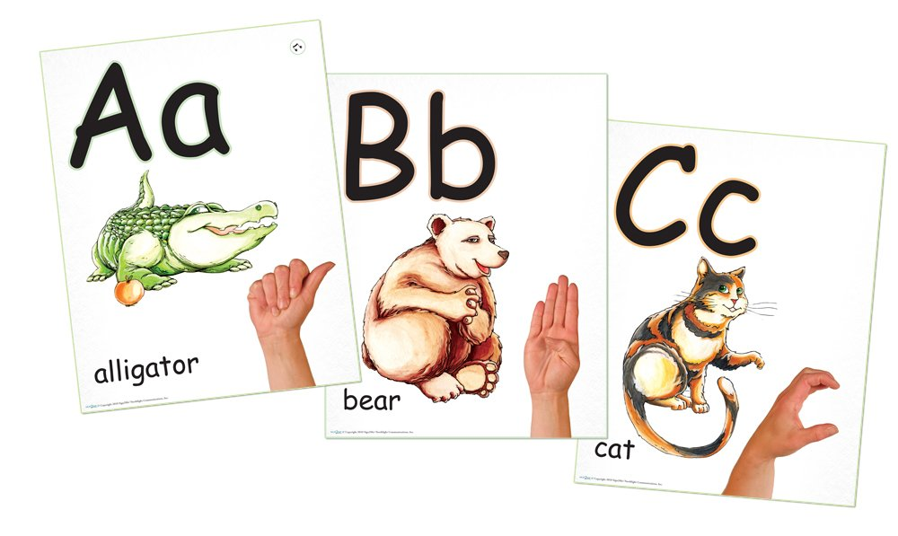 ABC Phonics: Sing, Sign, and Read! - A-Z Alphabet plus ASL Signs - 26 Wall Poster Set by Sign2me