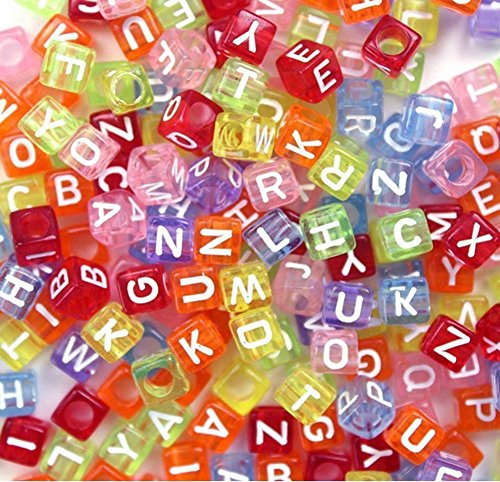 100 Pieces Random Colorful Acrylic Square Alphabet Beads Cube Letter Beads DIY Jewelery Making