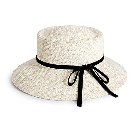 5df3a637182bb Sunny Honey Sombrero De Paja De Mujer Bombín Sombrero De Visera Estilo  Francés Verano Cubo Sombreros