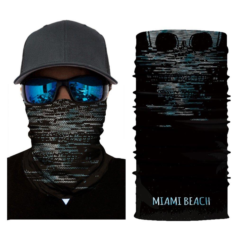 Leezo Viso Sun Mask Donna Uomini 3D Skelett Digital Stampato Multifunzionale Headwear senza cuciture Quick Dry Ombrello Saldatura fascia per capelli fascia per la fronte sciarpa fotocamera Custodia, Adulti (unisex), A65, Taglia unica