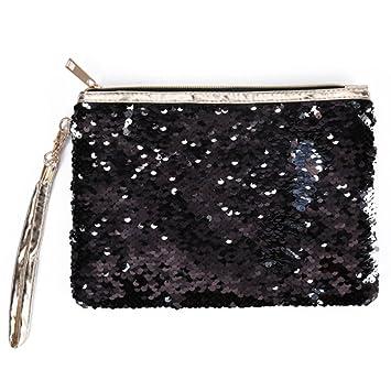 Uniuooi - Bolsa de cosméticos con purpurina y espiral, con ...