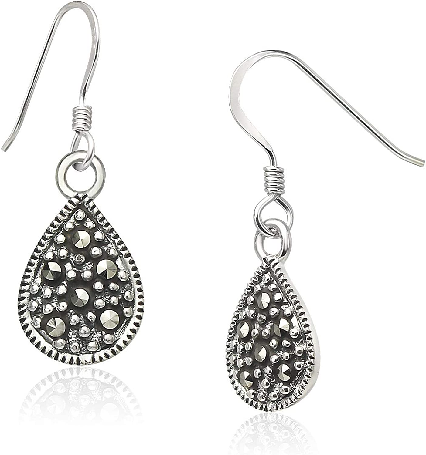 Big Apple Hoops - Marcasite Teardrop Dangle Earrings Made from Genuine Solid 925 Sterling Silver Lightweight and Unique Design