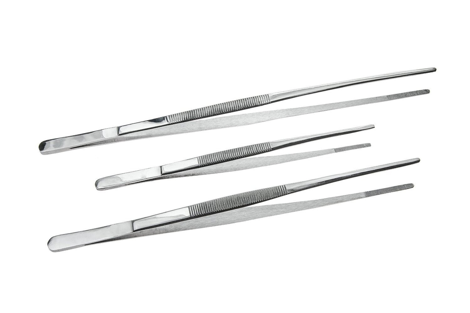 Saim Stainless Steel 3-Piece Tweezer Set with Serrated Tips - Excellent Tool, Lengths: 12', 10', 8' Lengths: 12 10 8 A0031