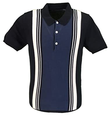 9ea196dfa Ben Sherman Navy Knitted Striped Retro Polo Shirt (X Large)  Amazon.co.uk   Clothing