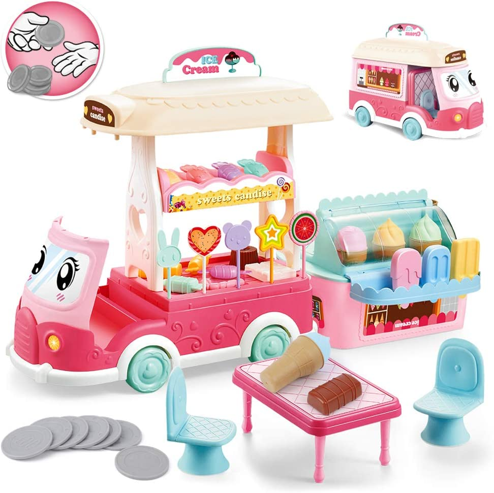 BeebeeRun Ice Cream Cart Toys for Toddlers - 50 PCS Ice Cream Truck for Kids and Play Food Selling Car with Ice Cream Candy Lollipop, Gift for 2 3 4 5 Year Old Girls