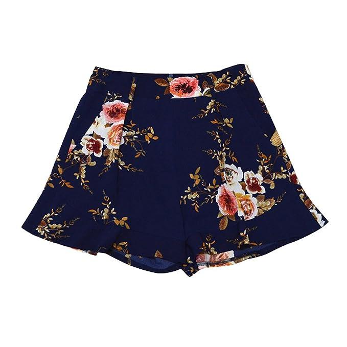 Mujer Pantalones Cortos de Verano de Gasa Ligero Falda Pantalón Corto Estampado Casual Cintura Elástica Alta de Moda de Playa: Amazon.es: Ropa y accesorios
