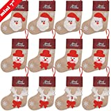 Ivenf 12 Pack 7'' 3D Burlap Mini Christmas Stockings, Santa Snowman Reindeer Gift Card Silverware Holders, Bulk Treats for Neighbors Coworkers Kids Cats Dogs, Small Rustic Red Xmas Tree Decorations Set