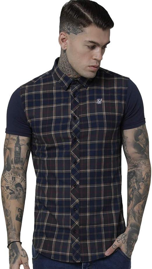 Sik Silk S/S Flannel Standard Shirt - Navy/Grey/Beige: Amazon.es: Ropa y accesorios