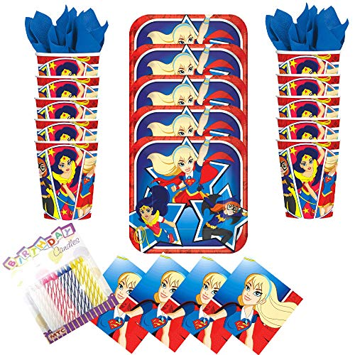Lobyn Value Pack DC Super Hero Girls Party Plates Napkins and Cups Serves 16 with Birthday Candles - Super Hero Birthday Party Supplies (Bundle for 16) ()