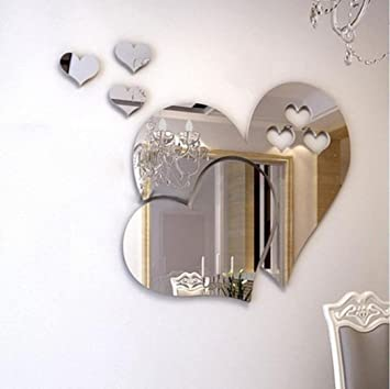 3D Mirror Love Hearts Wall Sticker Decal DIY Room Art Mural Decoration Removable