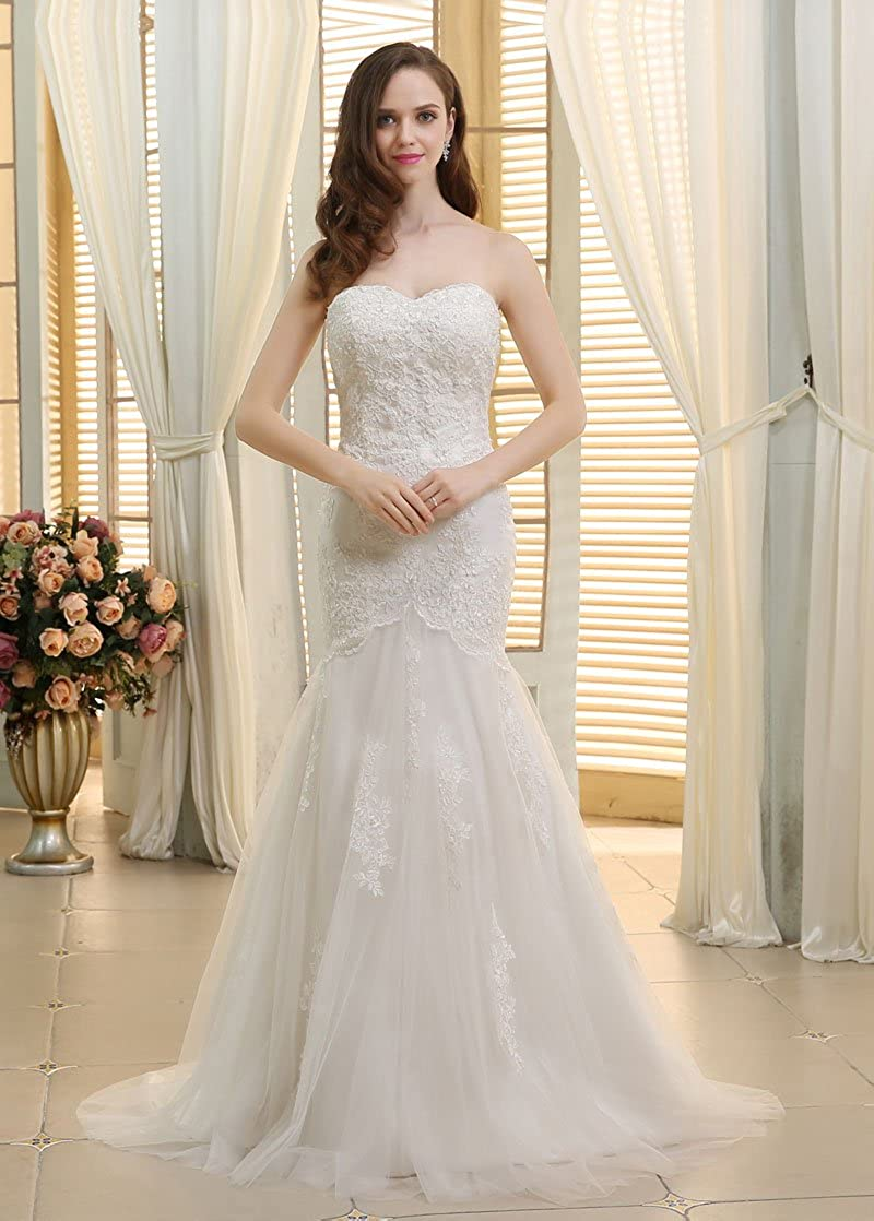 Dressilyme - Vestido de novia - ajustado - Mujer Blanco Marfil 52: Amazon.es: Ropa y accesorios