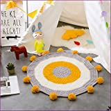Yellow Color Handmade Nordic Carpets Carpet Kids' Room Game Pad Coffee Table Area Rug Children Play Floor Mat Cute