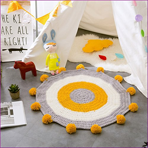 Yellow Color Handmade Nordic Carpets Carpet Kids' Room Game Pad Coffee Table Area Rug Children Play Floor Mat Cute by Floor Games