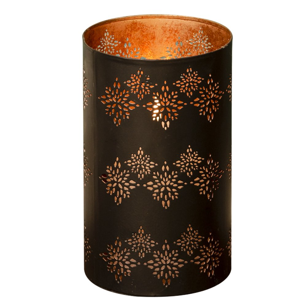 Dibor Matte Black and Copper Candle and Tealight Holder Decorative Lantern