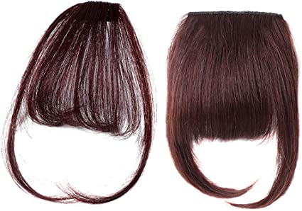 2 Pieces Brown Clip In Bangs Straight Human Hair Extension Front Fringe Invisible Natural One Piece Style Air Bangs With Temples And Thick Hairpiece For Women Amazon Co Uk Beauty