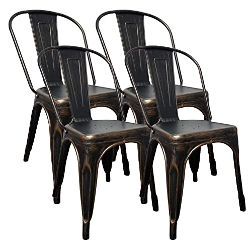 H JINHUI Distressed Dining Chairs, Set of 4 Antique Black Gold Indoor-Outdoor Use Stackable Side Chairs for Kitchen Dining Room Trattoria Patio