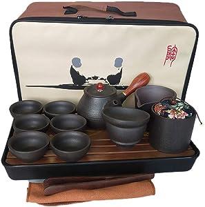 Ceramic Portable Travel Tea Set Handmade Chinese Kungfu Gongfu Teapot, Teacups, Tea Canister, Tea Funnel, Tea Tray with a Trave Bag (Black)