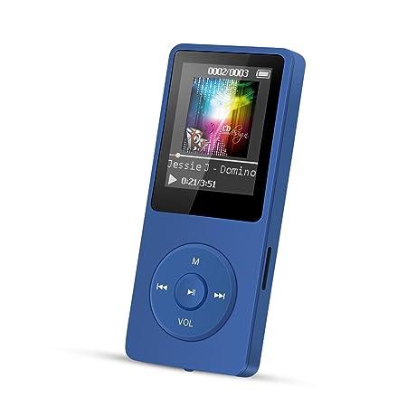 AGPTEK 8GB MP3-Player 70 Stunden Wiedergabe, Farbe Marineblau
