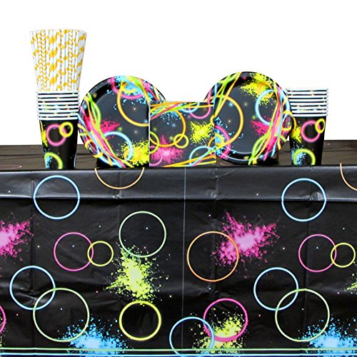 Glow Party Supply Pack for 16 Guests: Straws, Dessert Plates, Cups, Beverage Napkins, and Table Cover (Glow In The Dark Napkins)