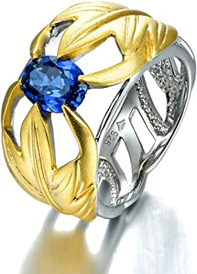 925 Sterling Silver Turkish Men/'s Ring Blue Sapphire Zirconia 14K Gold finishing