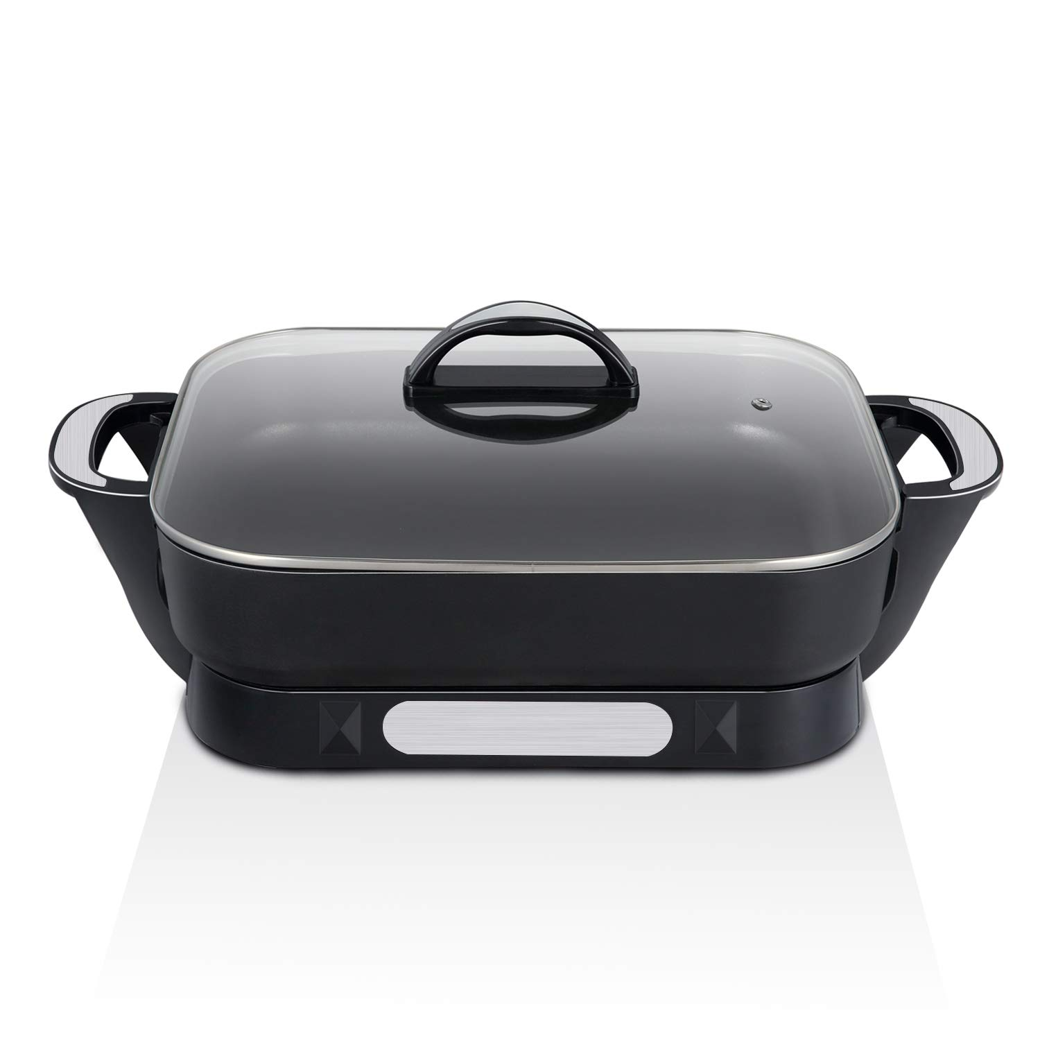 efluky 15 inch Electric Skillet with Non-stick Coated Aluminium Pan 17 x 12.7 x 5.6 inch, Black, GD-15