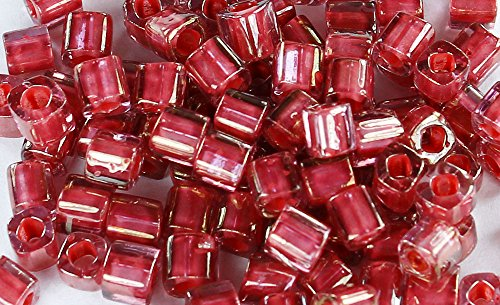 4mm Cube TOHO Glass Seed Beads # 291-Trans-Lustered Rose/Mauve (Lustered Rose)