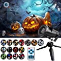 HD Halloween Projector Light with Remote Control, Indoor Outdoor Waterproof Motion LED Projection Light Show Landscape Spotlight with 15 Switchable Patterns for Christmas Party Holiday Decoration