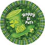 Unique Party 47914 - 18cm Lucky Stripes St. Patrick's Day Party Plates, Pack of 8
