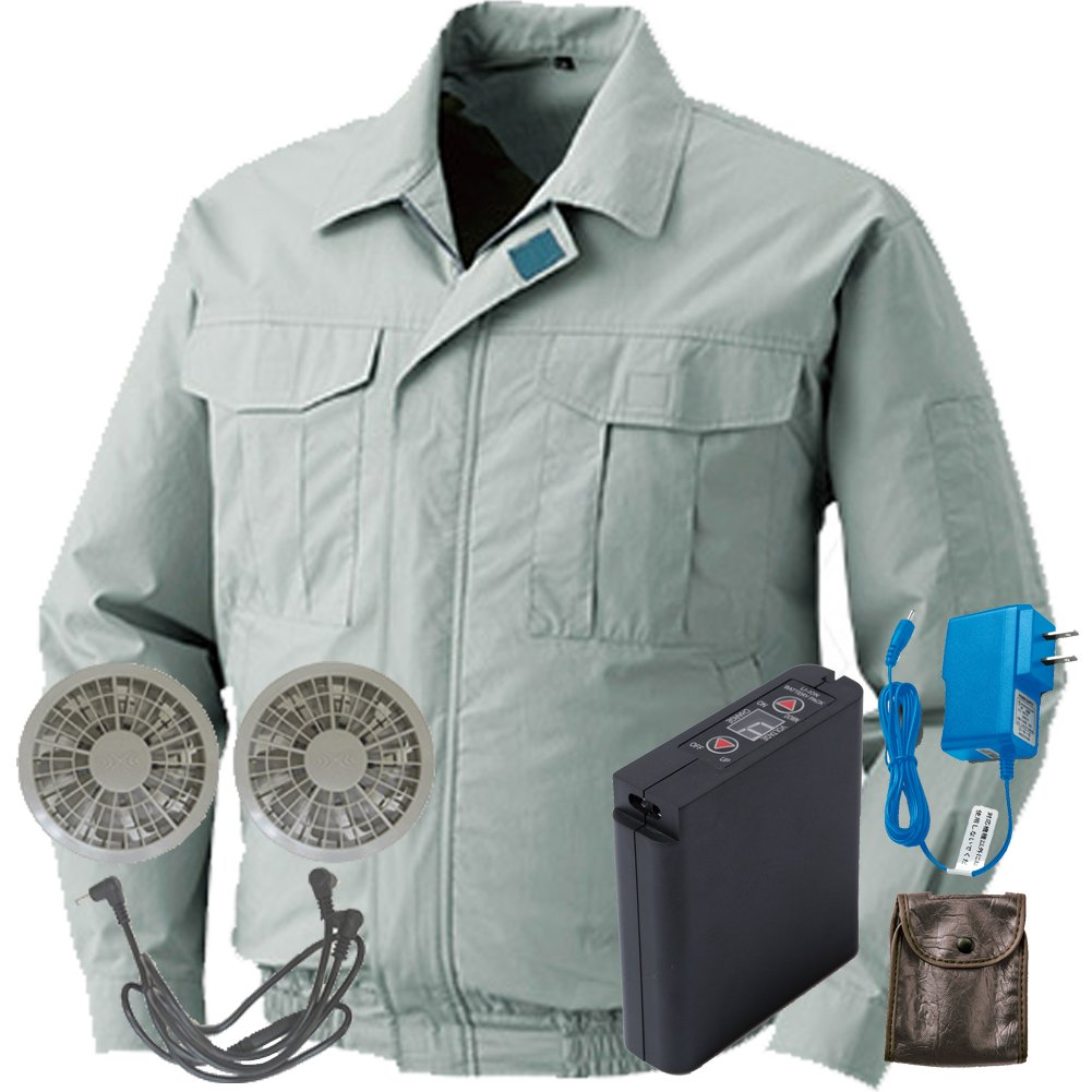 空調服 セット[KU90550ブルゾン+FAN2200グレーファン+LI-ULTRAIリチウムバッテリー] B0785KQT39 5L|17 モスグリーン 17 モスグリーン 5L