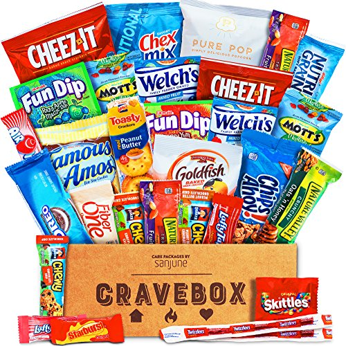 CraveBox - The Classic Care Package - Variety Assortment Bundle of Snacks, Candy, Chips, Chocolate, Cookies, Granola Bars, and More!! (30 Count) (Party Gift Basket)