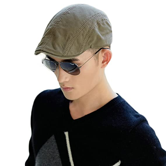 b7f2df557cf Siggi Newsboy Driving Duckbill Ivy Cap Cotton Irish Cabbie Hat for Men Khaki