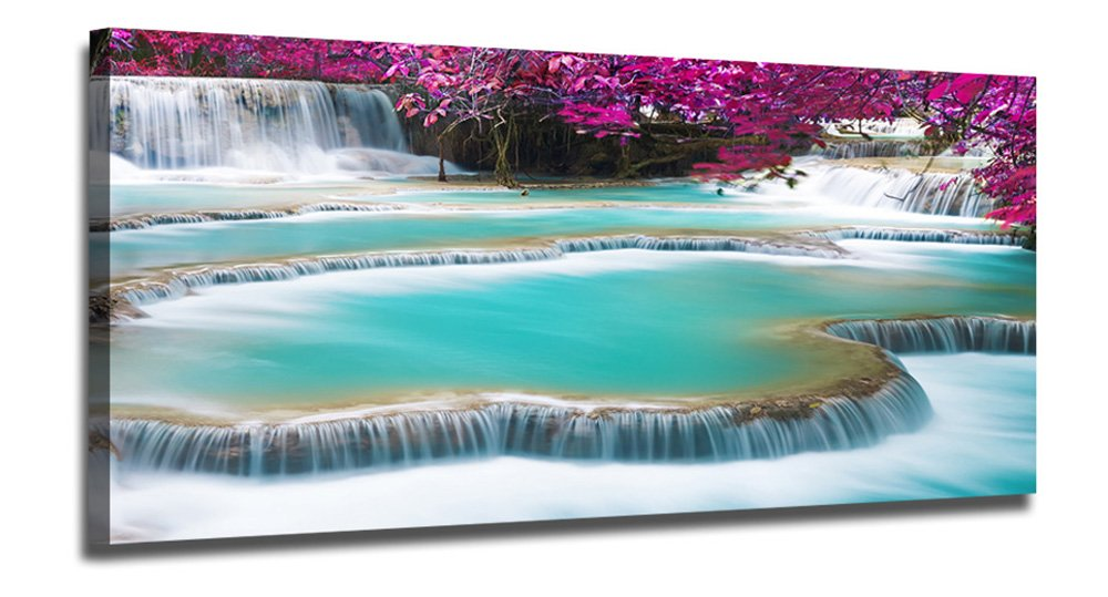 Ardemy Canvas Wall Art Landscape Purple Nature Waterfall Picture Prints One Panel Modern Giclee Prints Gallery Wrapped for Living Room Bedroom Home and Office Wall Decration