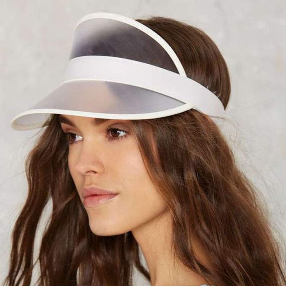 SDGDFXCHN Unisex Outdoor Sunscreen transparent PVC Plastic Sun hat Empty top Sun hat Cap