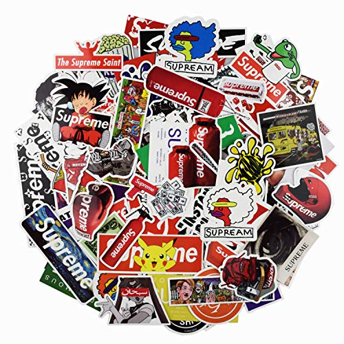 Fashion Sticker - Cool Fashion Supreme and Brand Stickers,Cute Stickers,Laptop and Water Bottle Decal for Cars Skateboard Motorcycle Bicycle Skateboard Graffiti Patches Stickers for Adults(104Pcs)