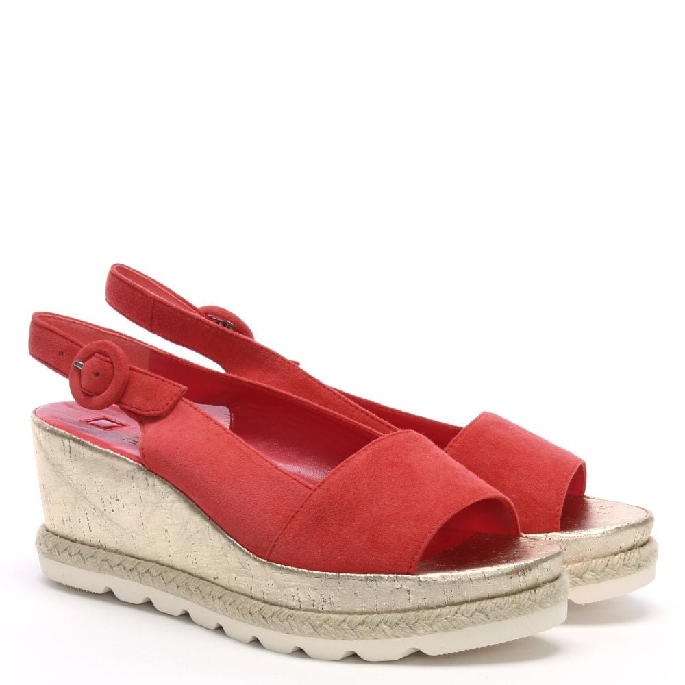 b588234929ce0 Hogl Red Suede Low Cork Wedge Sandals 41 Orange Suede: Amazon.co.uk: Shoes  & Bags