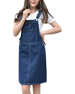 05e5579874c ZiXing Women Lady s Girls Denim Skirt Stretch Dungarees Dress Pinafore with  Pocket