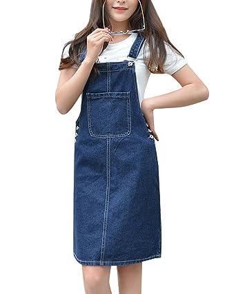 4b784446699 Elwow Women Ladys Girls Adjustable Straps Plus Size Denim Skirt Stretch  Dungarees Dress Pinafore with Big Pocket
