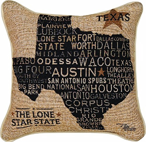 Manual Americana Collection Throw Pillow with Piping, 17 X 17-Inch, USA Texas from Pela Studios (Americana Gift)