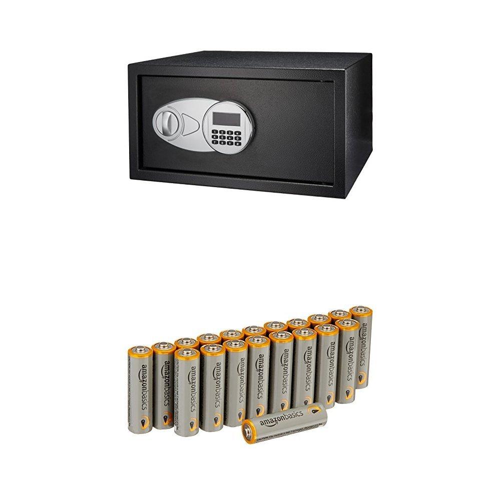 AmazonBasics - Cassaforte da 14 L + Pile Stilo AA (Pacco da 20)