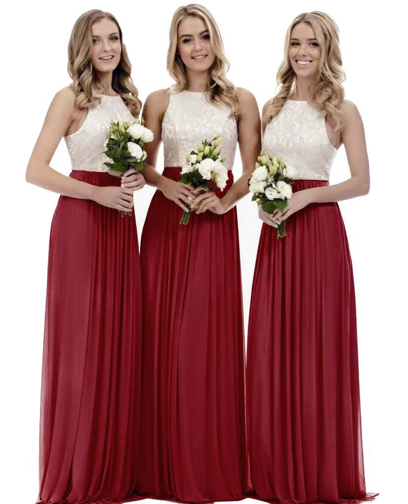 Zhongde Girl's A Line Lace Chiffon Long Bridesmaid Dress Vintage Wedding Party Formal Gown Burgundy Size 24