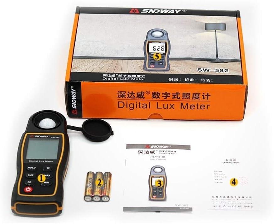 EODUDO-S High Precision SW582 Digital Light Meter Luxmeter Lux//FC Meters Luminometer Photometer Light Meter 0-199900Lux Digital Illuminance Meter,Easy to Use