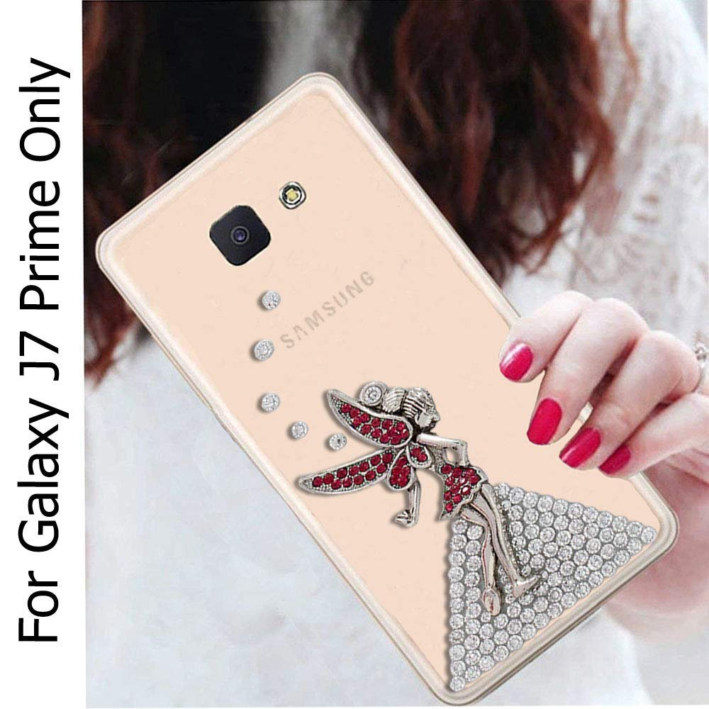 los angeles 2d9fc d784e KC Unique Bling Crystal Diamond Flower with Eiffel Tower Case for Girls  Transparent Soft Back Cover for Samsung Galaxy J7 Prime (SM-G610F) - Gold